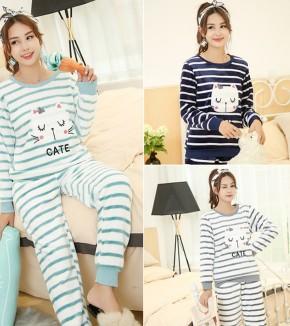 고양이 패치 밍크잠옷세트